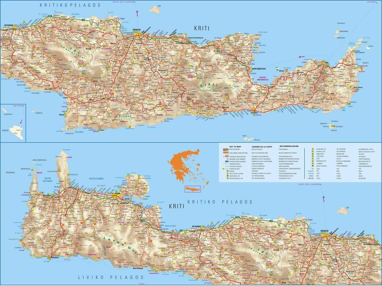 Cartina Creta.Portale Grecia